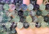 CLF1170 15.5 inches 14mm carved round fluorite gemstone beads