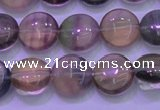 CFL1331 15.5 inches 10mm flat round purple fluorite gemstone beads