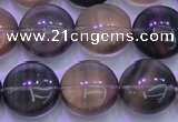 CFL1334 15.5 inches 15mm flat round purple fluorite gemstone beads