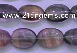 CFL1340 15.5 inches 10*14mm oval purple fluorite gemstone beads