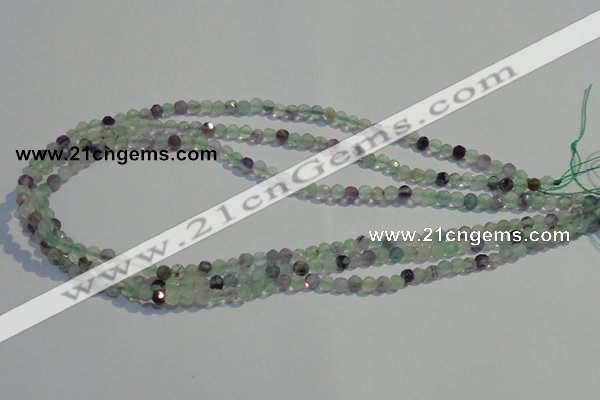 CFL250 15.5 inches 4mm faceted round natural fluorite beads