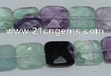CFL319 15.5 inches 14*14mm faceted square natural fluorite beads