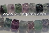 CFL472 15.5 inches 8*10mm carved rondelle natural fluorite beads