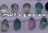 CFL709 Top-drilled 10*14mm faceted teardrop natural fluorite beads