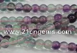 CFL901 15.5 inches 4mm round rainbow fluorite gemstone beads