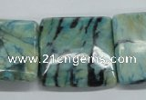 CFS115 15.5 inches 30*30mm square blue feldspar gemstone beads