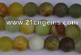 CFW202 15.5 inches 8mm round matte flower jade beads wholesale