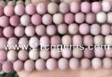 CFW37 15.5 inches 8mm round matte pink wooden jasper beads