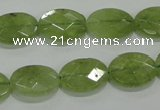 CGA102 15.5 inches 12*16mm faceted oval natural green garnet beads