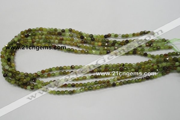 CGA122 15.5 inches 4mm faceted round natural green garnet beads