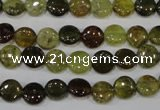 CGA210 15.5 inches 8mm flat round natural green garnet beads
