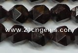 CGA453 15.5 inches 12mm faceted nuggets natural red garnet beads
