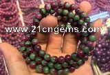 CGB2519 7.5 inches 8mm round ruby zoisite beaded bracelets