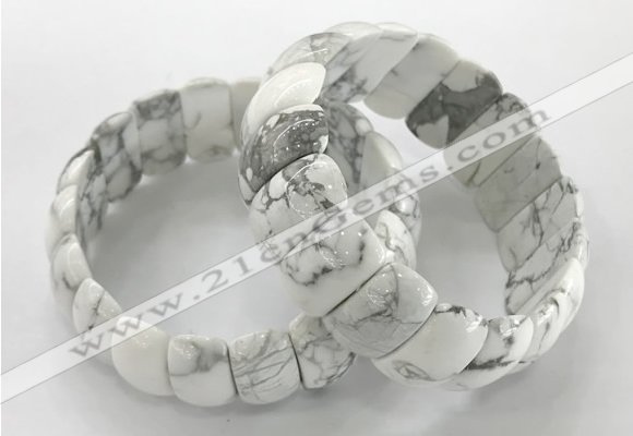 CGB3258 7.5 inches 12*25mm oval white howlite bracelets