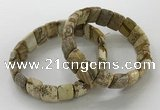 CGB3337 7.5 inches 10*15mm rectangle picture jasper bracelets
