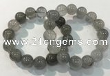 CGB4107 7.5 inches 14mm round rutilated quartz beaded bracelets