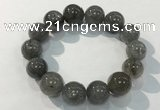 CGB4108 7.5 inches 16mm round rutilated quartz beaded bracelets