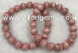 CGB4124 7.5 inches 9.5mm - 10mm round rhodochrosite beaded bracelets