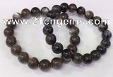 CGB4574 7.5 inches 11mm - 12mm round black sunstone beaded bracelets