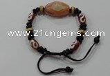 CGB98 Tibetan agate dZi beads & black agate beads adjustable bracelet
