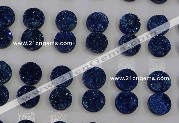 CGC114 14mm flat round druzy quartz cabochons wholesale