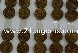 CGC130 18mm flat round druzy quartz cabochons wholesale