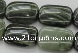 CGH29 15.5 inches 15*20mm rectangle green hair stone beads wholesale