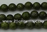 CGJ460 15.5 inches 4mm faceted round green jasper beads wholesale