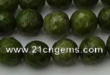 CGJ463 15.5 inches 10mm faceted round green jasper beads wholesale