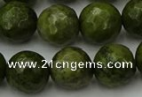 CGJ465 15.5 inches 14mm faceted round green jasper beads wholesale
