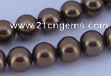 CGL106 5PCS 16 inches 12mm round dyed glass pearl beads wholesale