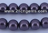 CGL132 10PCS 16 inches 4mm round dyed glass pearl beads wholesale