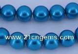 CGL256 5PCS 16 inches 12mm round dyed glass pearl beads wholesale