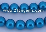 CGL258 5PCS 16 inches 16mm round dyed glass pearl beads wholesale