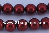 CGL325 5PCS 16 inches 10mm round dyed glass pearl beads wholesale
