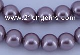 CGL384 10PCS 16 inches 8mm round dyed glass pearl beads wholesale
