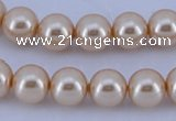 CGL45 5PCS 16 inches 10mm round dyed glass pearl beads wholesale