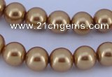 CGL67 5PCS 16 inches 14mm round dyed glass pearl beads wholesale