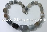 CGN100 20 inches 10*15mm - 20*30mm nuggets agate gemstone necklaces