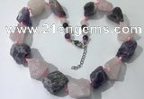 CGN147 19.5 inches 10*14mm - 20*30mm nuggets mixed quartz necklaces