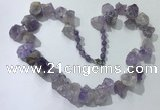 CGN156 18.5 inches 12*16mm - 13*18mm nuggets light amethyst necklaces