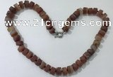 CGN177 20 inches 7*12mm - 9*12mm tyre matte red agate necklaces