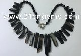 CGN192 23 inches 8*20mm - 11*60mm black agate stick necklaces