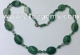 CGN221 22 inches 6mm round & 18*25mm oval agate necklaces