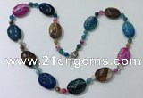 CGN222 22 inches 6mm round & 18*25mm oval agate necklaces