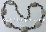CGN230 22 inches 6mm round & 18*25mm rectangle agate necklaces