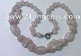 CGN290 24.5 inches chinese crystal & rose quartz beaded necklaces