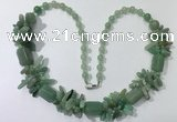 CGN312 27.5 inches chinese crystal & green aventurine beaded necklaces