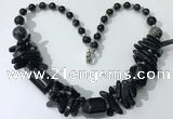 CGN339 20.5 inches chinese crystal & black agate beaded necklaces
