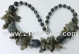 CGN342 20.5 inches chinese crystal & labradorite beaded necklaces